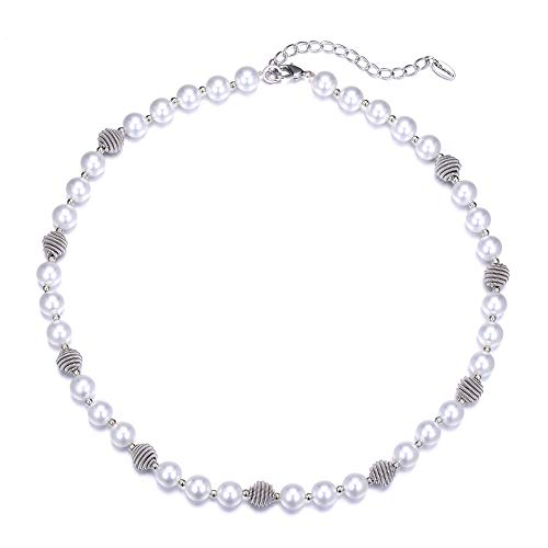 Bulinlin Beaded Strand Pearl Choker Necklace - Fashion Jewelry Birthday Gifts for Women Girls (03-White)