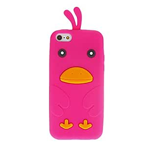 Cartoon Style 3D Duck Pattern Silicone Soft Case for iPhone 5C (Assorted Colors) --- COLOR:White