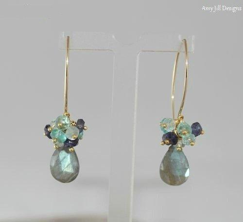 Labradorite Earrings, Aquamarine, Iolite Apatite Cluster, Labradorite Jewelry, Gold Filled, Gray Blue Flash, Gemstone Jewelry