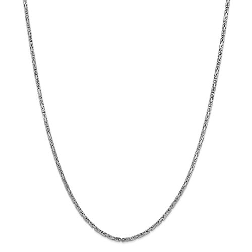 ICE CARATS 14kt 2mm White Gold Link Byzantine Chain Necklace 16 Inch Pendant Charm Fine Jewelry Ideal Gifts For Women Gift Set From Heart 14kt Gold Byzantine Necklace