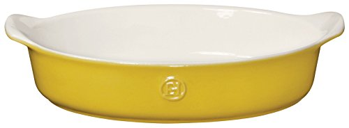 Emile Henry 859028 HR Ceramic Small Oval Baker, (Yellow Oval Baking Dish)