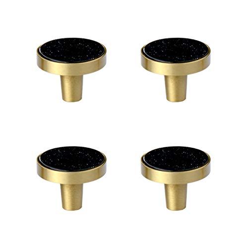 Tiazza 4Pcs Mid-Century Modern Style Premium Solid Brass Cabinet Knobs Wardrobe Door Pulls Drawer Round Minimalist Small Handle (Resin, 1.06