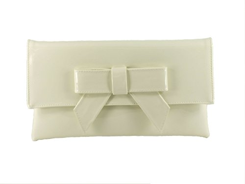 Clutch Patent Faux Bag Shoulder Womens Ivory Cute bag LONI Cream Leather xTC774