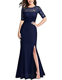 Women Floral Lace Split Elegant Prom Formal Party Long Evening Dresses