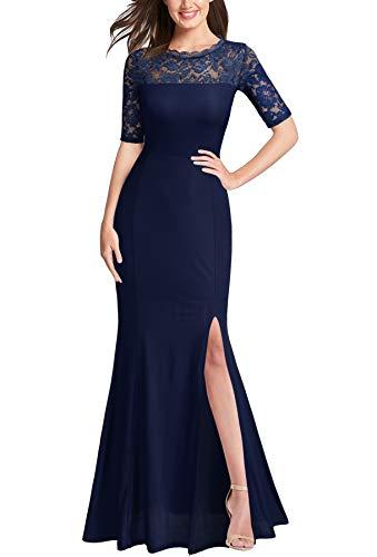 FORTRIC Women Floral Lace Split Prom Formal Party Long Evening Dress Purplish Blue Medium