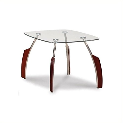 Global Furniture Clear/Silver Occasional End Table with Mahogany Legs