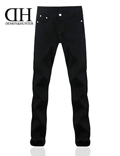 Moda Pantaloni Da Semplice Casual Skinny Stile Dritti Serie Neri 808 Jeans Uomo Vintage Nero Stretch gvwradqg