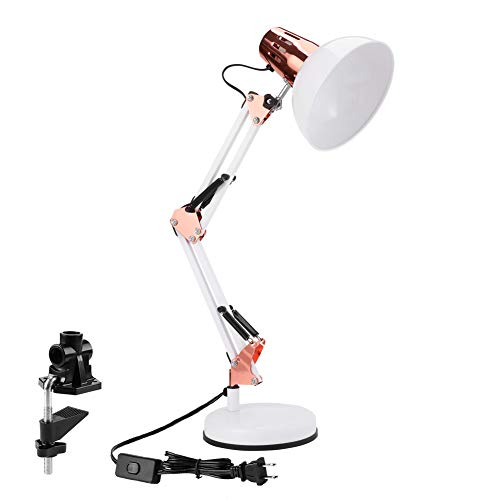 PowerKing Architect Task Lamp Swing Arm Desk Lamp with Clamp,Classic Desk Lamp Combined with Modern Color (Rose Gold and White)