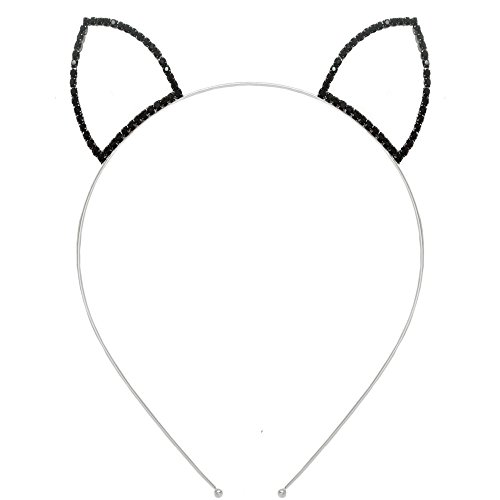 Cat Ears Outline Headband Tiara with Rhinestones, Adult, Black Ears On Silver Tone in Silver Tone with Black Finish -