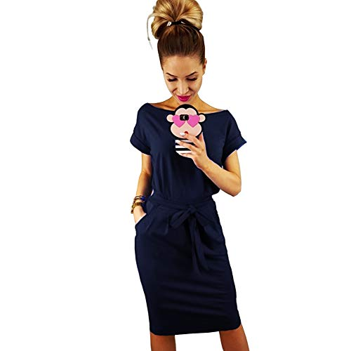 Longwu Women's Elegant Short Sleeve Wear to Work Casual Pencil Dress with Belt Dark Blue-3XL ()