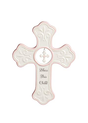(DEMDACO Bless This Child Soft Pink 7 x 5 Porcelain Ceramic Hanging Wall Cross)