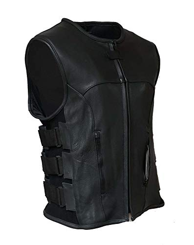 IKLeather Swat Style Leather Vest Mens Motorcycle Biker Tactical Black Stretch ()