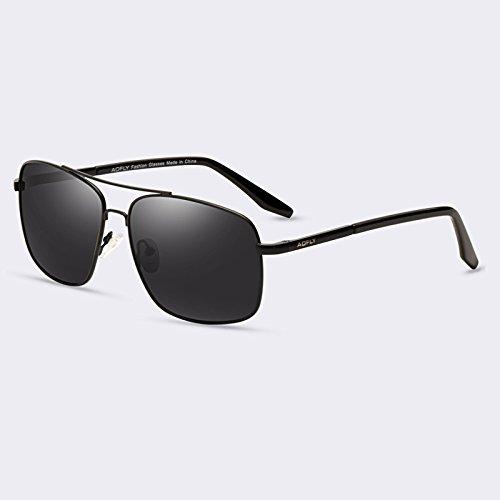 hombres TIANLIANG04 sol gafas hombres lentes gafas de C01gris para puente HD de degradado C02Gray de gafas revestimiento polarizadas doble Bx4AWw84