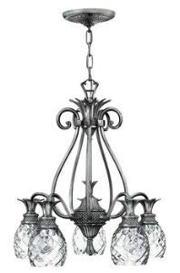 Hinkley 4885PL Leaf, Flower, Fruit Five Light Downlight Foyer from Plantation collection in Pwt, Nckl, B/S, Slvr.finish,