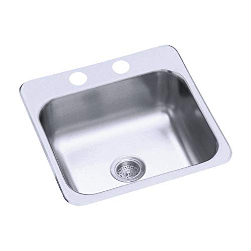 STERLING B153-1 Secondary Sink 15-Inch by 15-Inch Top-mount Single Bowl Bar Sink, Stainless Steel