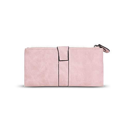 Long Bifold Womens PU Purse Pink DSUK Zipper Wallet Clutch Pocket Card 65Fqa