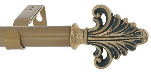 Meriville 1-Inch Diameter Single Window Treatment Curtain Rod, Acanthus Finial, 28-inch to 48-inch Adjustable, Antique Gold
