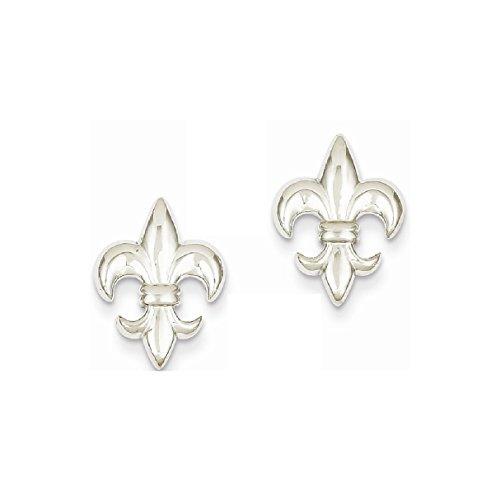 Fleur De Lis White Earrings (Roy Rose Jewelry 14K White Gold Polished Fleur De Lis Post Earrings)