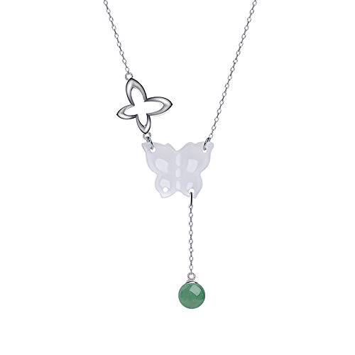 iSTONE Natural Gemstone White Quartzite Elegant Butterfly Design Necklace with 925 Sliver Slim Chain