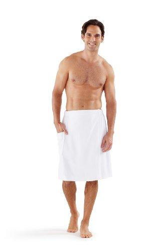(Boca Terry Men's Spa Wrap - 100% Cotton Spa, Gym, Bath Towel - White Med/Large)