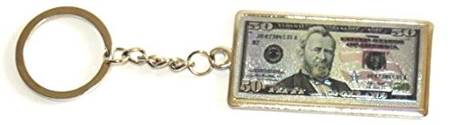 USA $50 Bill with President Ulysses S. Grant on front & US Capitol on back 50 Dollar Metal Keychain- USA Souvenirs