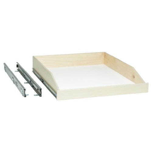 Slide-A-Shelf SAS-SC-L-B, Made-To-Fit Slide-out Shelf, Full-Extension with Soft close, Poly-finished Birch Fronts, SEE IMPORTANT INFO BELOW!
