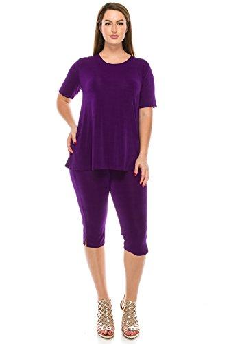 Jostar Women's Stretchy Capri Pants Set Short Sleeve Plus 3XL Purple