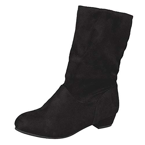(Goldweather Women Mid Calf Boots Ladies Solid Suede Low Square Heel Slip-On Martin Boots (US:9.5, Black))
