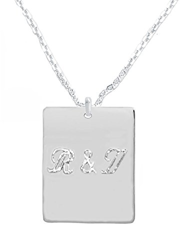 CloseoutWarehouse Sterling Silver High Polished 18MM Engravable Rectangle Tag Necklace 22