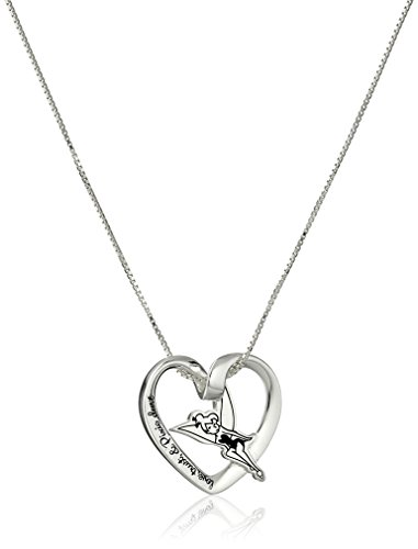 - Disney Sterling Silver Love, Trust and Pixie Dust Tinkerbell Pendant Necklace, 18