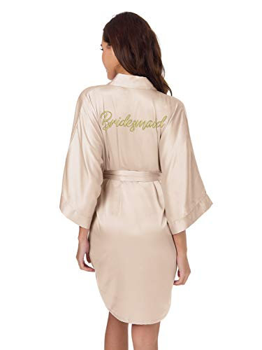 SIORO Bridal Party Robes,Personalized Embroidered Bathrobe for Bridesmaid Bride Bridal Party Kimono Gown,Light Champagne XL