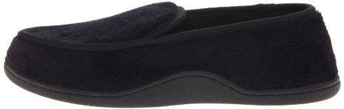 Isotoner Men's Microterry Slip On Slippers,  Large,  Black