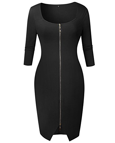 Matita Lunghezza Dress Primavera Minetom Vestito Cocktail Donna Vestiti Cerniera Nero Club Manica Party del Elegante Lunga Ginocchio RS6qw8CqB0