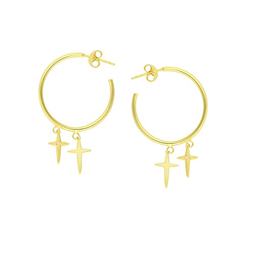DANGLE EARRINGS, 14KT GOLD 2 PT DIA DNGL DBL CROSS HALF HP EAR POST by DiamondJewelryNY