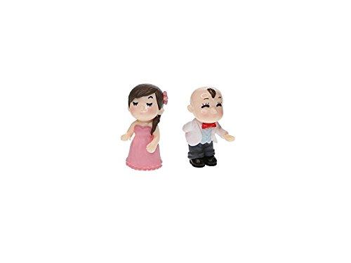 Fée Miniature Terrariums Micro Ornement Paysage Zhihan Jardin Couple Dollhouse Décorations De Fête De Mariage Robe Complète (rose Blanc +)