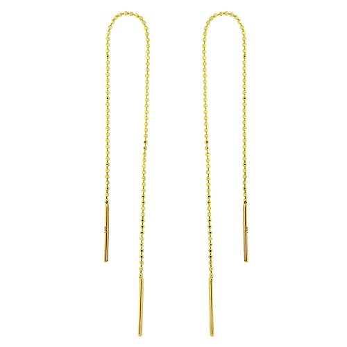 Automic Gold Solid 14k Yellow Gold Beaded Chain Thread Earrings (14k Yellow Gold Chain Earrings)