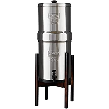 Countertop Stand For Berkey Water Filter - Stylish Adjustable Bamboo Berkey Stand for All Sizes of Berkey Water Filter System (Walnut Bamboo)