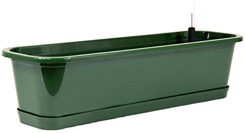 Blumenkasten mit Wasserspeicher und Untersetzer Blumentopf Balkonkasten grün 60 cm