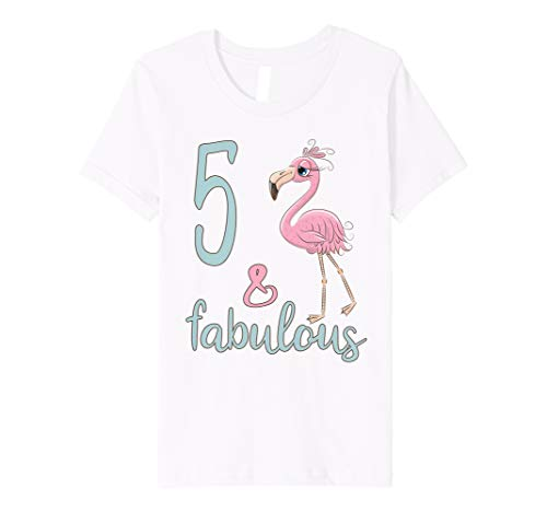 Kids 5 Fabulous Birthday Flamingo T-Shirt 5th Bday Girl Gift Tee