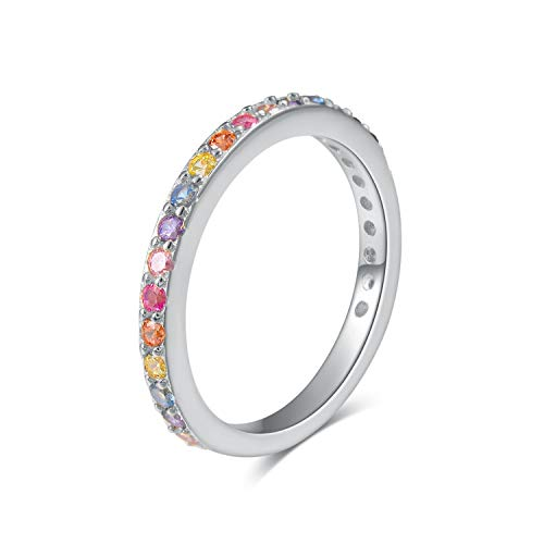 Sterling Silver Rainbow CZ Ring - Multi-Color Cubic Zirconia Band Stackable Ring (Size 8)
