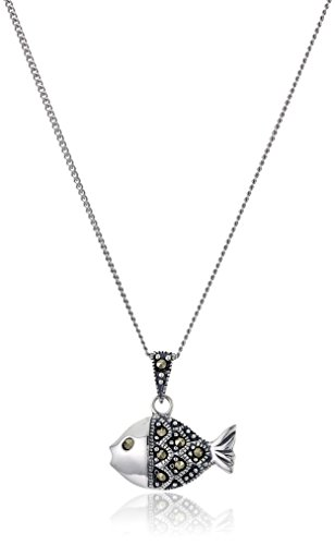 Chain Marcasite Jewelry - Sterling Silver Marcasite Goldfish with Chain Pendant Necklace, 18