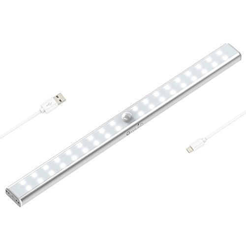 OxyLED T-02US 36 LED Sensing USB Rechargeable Cabinet Cordless Motion Sensor Wardrobe Bar, Super Bright Closet Light with Magnetic Strip - Usb Light Sensor
