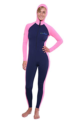 Women Sun Protection Full Body Swimsuit Stinger Suit Dive Skin Hooded UPF50+ Navy Pink M
