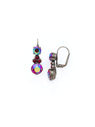 Sorrelli Clustered Circular Crystal Drop Earring, Red, -
