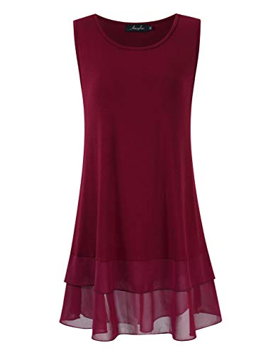 (AMZ PLUS Women's Plus Size Flowy Long Tops Chiffon Splicing Loose Blouse Tunic Dress Shirt (XL(14Plus), Burgundy Sleeveless))