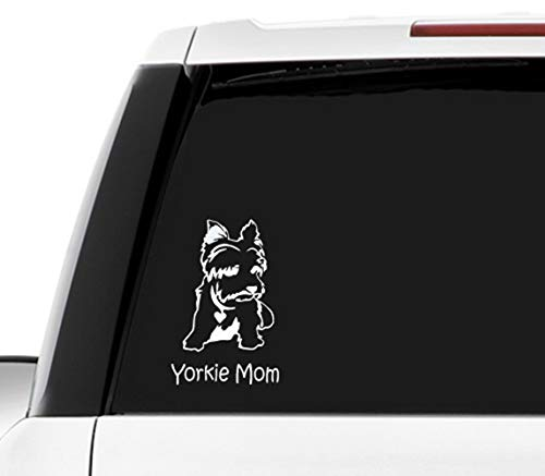 MULTI-COLOR Yorkie Mom sticker or car decal for any pickup truck car love yorkie
