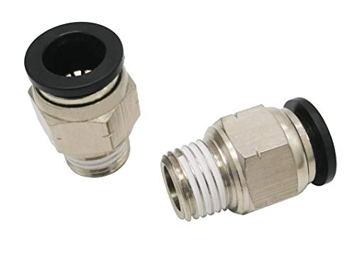 "Push to Connect Tube Fitting, Male Straight - 3/8"" Tube OD x 1/4"" NPT Thread (2 Pack)"