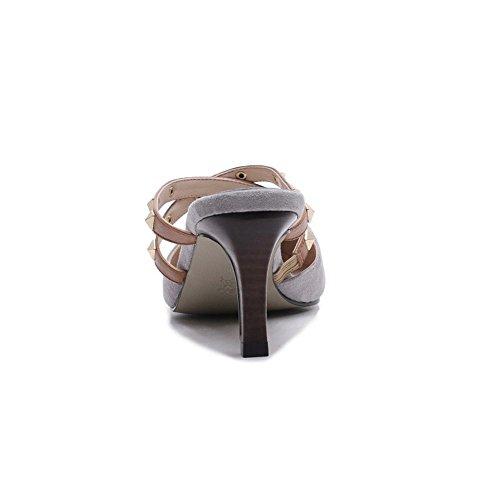 Sauvage Taille Gris Couleur Sandales Porter Haut Yiwuhu Ceinture de Talon Rivet première La 38 3 Couche et des Sexy à Cuir Pantoufles Boucle de EU 2 des Gris npxZBHqROp