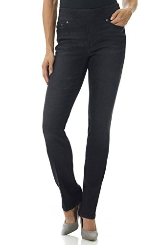 Rekucci Jeans Women's Ease in to Comfort Fit Stretch Straight Leg Denim Pants (14SHORT,Black - Pant Denim Leg Straight