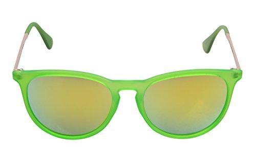 Eyekepper Lunettes de soleil Ronde UV 400 Protection Toutes les activites en plein air Femme VERT-Jaune